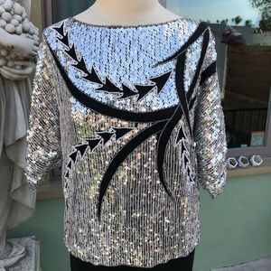 Vintage sequin silk embroidered top size small